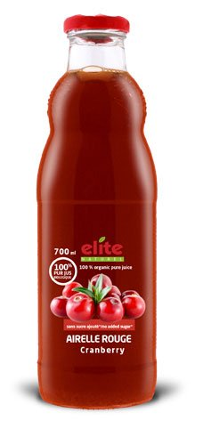 Bouteille 700 ml Elite naturel 100% pur jus bio Airelle rouge
