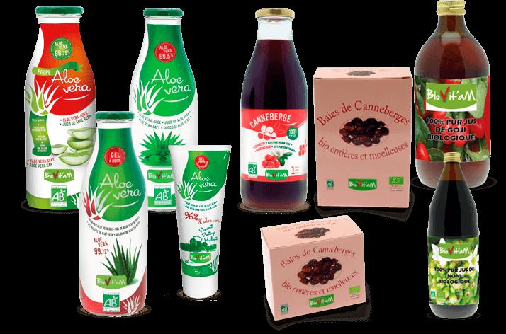 Produits biovitam : jus, pule morceaux et gel d'aloe vera - jus de canneberge - jus de noni - jus de goji